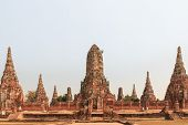 stock photo of gautama buddha  - Ancient Temple Wat Chaiwatthanaram at Ayutthaya Thailand - JPG