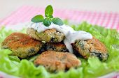 image of veggie burger  - Delicious organic veggie burger patty with a healthy salad