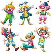 Illustration of a group of clowns on a white background