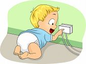 Illustration of a Baby Boy Touching a Covered Socket