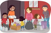 Illustration of Families Segregating Trash Together