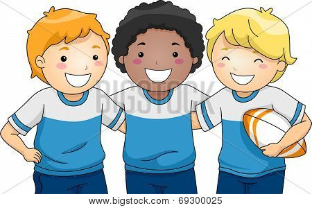 Illustration Featuring a Group of Smiling Boys Wearing Rugby Uniforms