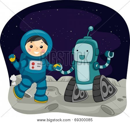 Illustration Featuring a Kid Dressed as an Astronaut Dancing with a Space Robot