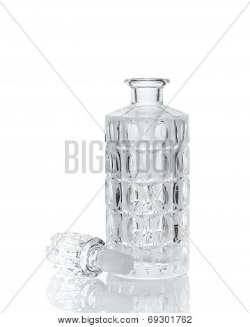 Whiskey crystal decanter isolated on white