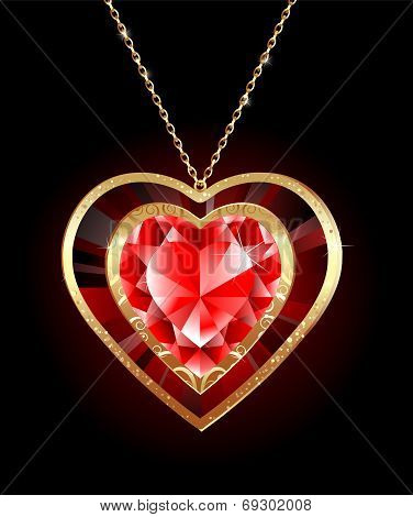 Ruby Heart On A Gold Chain