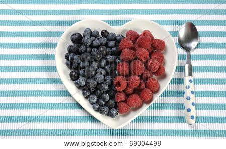 Healthy Diet High Dietary Fiber Breakfast With Blueberries And Raspberries In Heart Shape White Plat