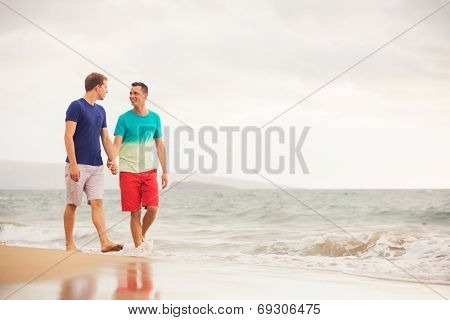 Happy gay couple walking on the beach