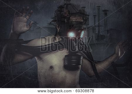 Nuclear man, dressed with gas mask