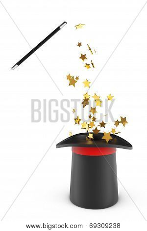 Magic Hat And Wand With Sparkles