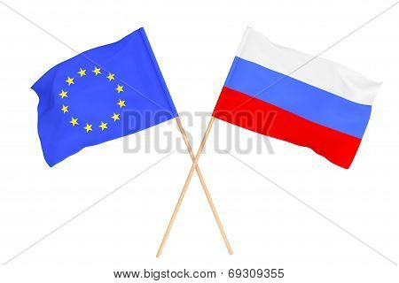 Flags Of Russia And European Union