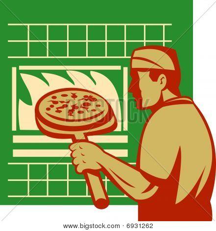 Pizza pie maker or baker holding baking pan