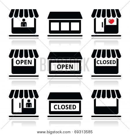 Shop or store, supermarket vector icons set