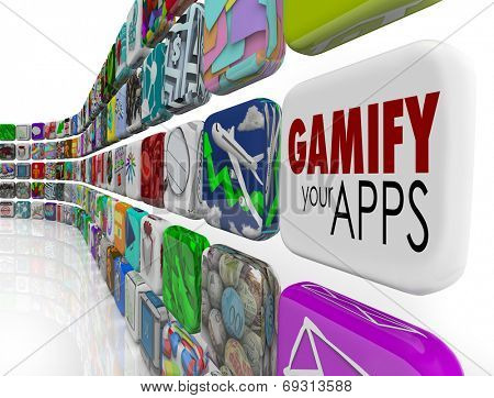 Gamify Your Apps words on an app tile encouraging you to add gamification to your online or digital marketing campaign to retain, reward and educate customers