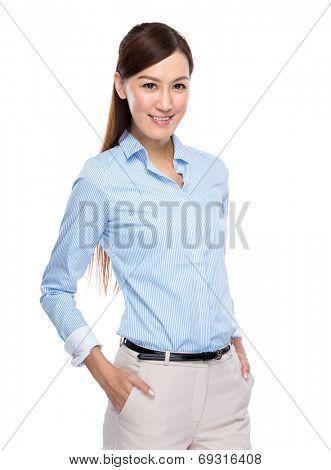 Asian businesswoman hand inside pocket