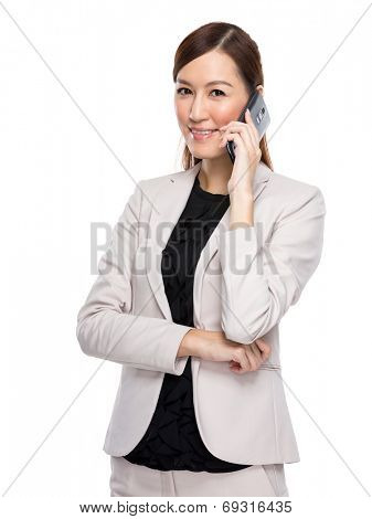 Business woman talk on mobile phone