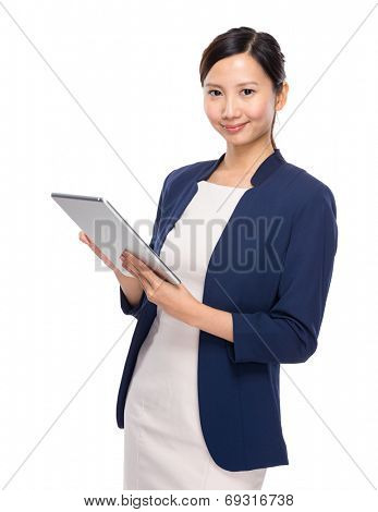 Asian young woman with tablet