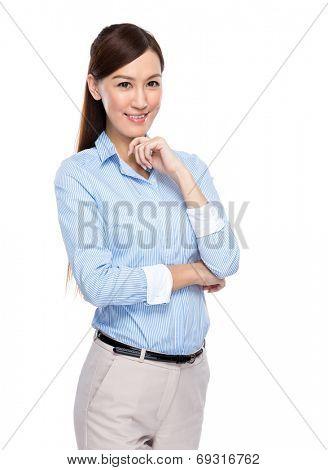 Asian businesswoman rest chin on hand