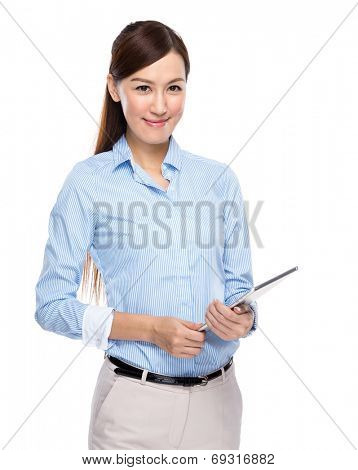 Asian businesswoman hold tablet on white background
