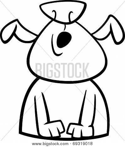 Dog Howls Cartoon Coloring Page