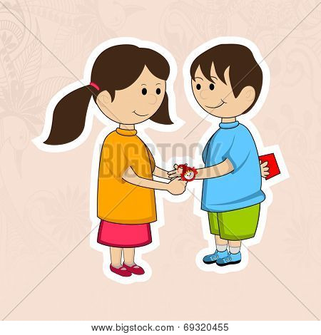 Cute little sister tying rakhi on her brother wrist, naughty brother escaping gift from her on occasion of Hindu community festival Rakha Bandhan celebrations.