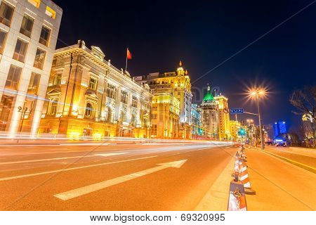 Light Trails On The Street In Shanghai The Bund