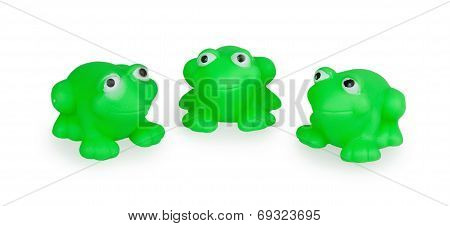 Three Rubber Green Toad