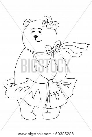 Teddy bear with handbag, contours