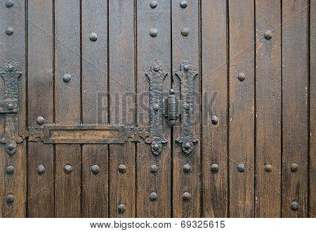 ?exture: Fragment Shabby Wooden Door With Hardware Elements