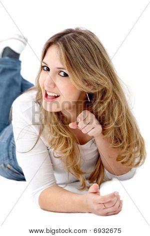 Woman Pointing At The Camera