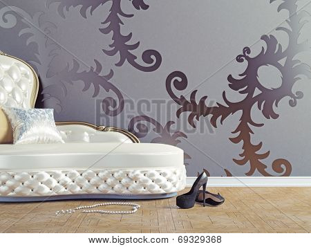 vintage sofa and wallpaper wall (3d illustration)