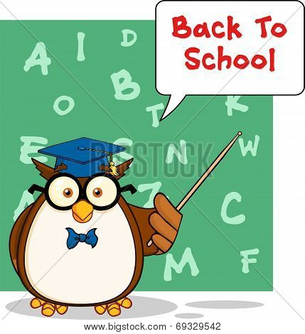 Wise Owl Teacher Cartoon Character With A Speech Bubble And Text