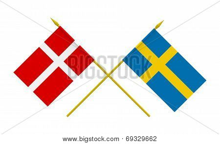 Flags, Denmark And Sweden