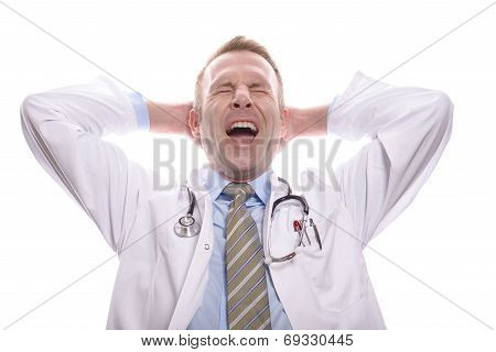 Satisfied Successful Doctor Relaxing And Yawning