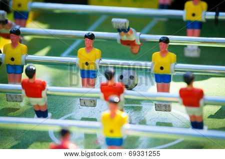 Close up of plastic table football game