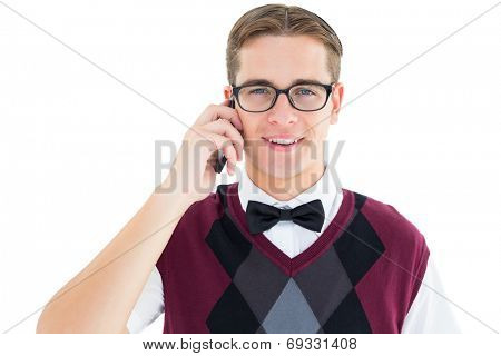 Geeky hipster talking on the phone on white background