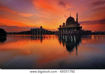 Putra Mosque during sunrise