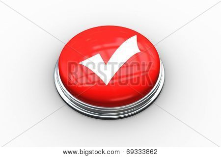 Composite image of tick symbol on digitally generated red push button
