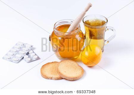 Honey, Tea And Medicine, Flue Concept