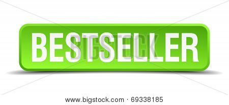 Bestseller Green 3D Realistic Square Isolated Button