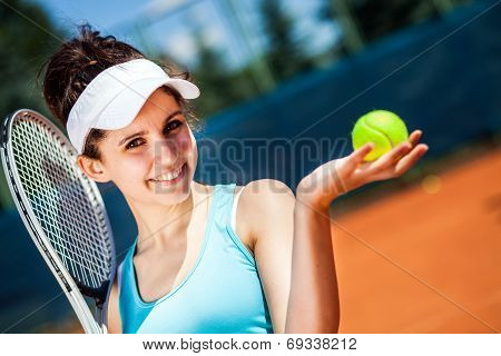 Female Playing Tennis