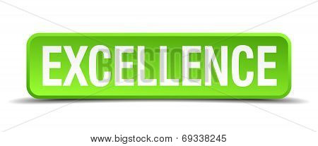 Excellence Green 3D Realistic Square Isolated Button