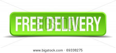 Free Delivery Green 3D Realistic Square Isolated Button