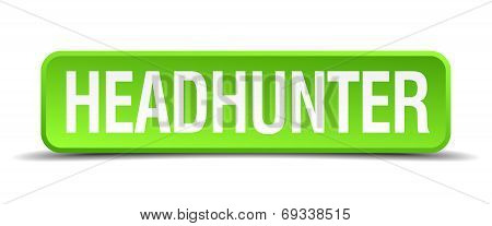 Headhunter Green 3D Realistic Square Isolated Button
