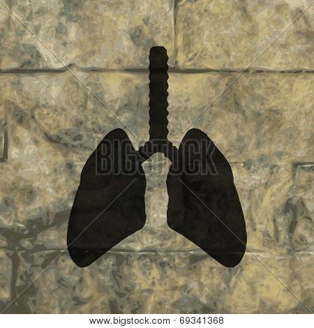Human lung. Flat modern web button  and space for your text