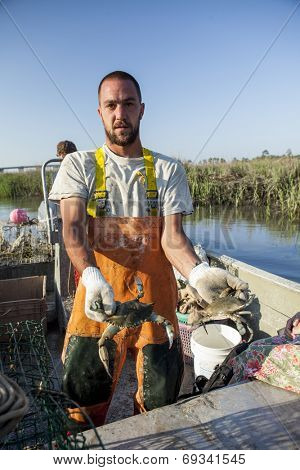 commercial fisherman catching crabs