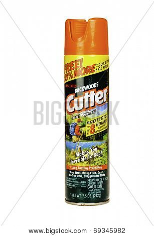 Hayward, CA - July 31, 2014: 7.5 oz spray can of Backwoods CUTTER Insect repellent