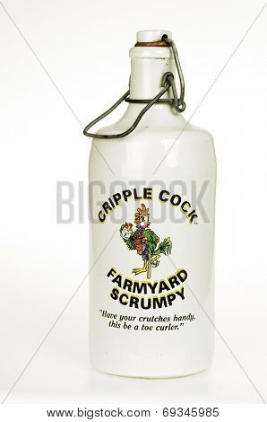 Hayward, CA - July 30, 2014: Porcelain Bottle of Cripple Cock Farmyard Scrumpy (Alcoholic cider)