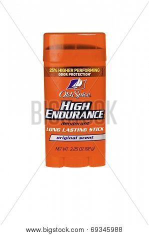 Hayward, CA - July 31, 2014: Old Spice High Endurance roll on deodorant stick