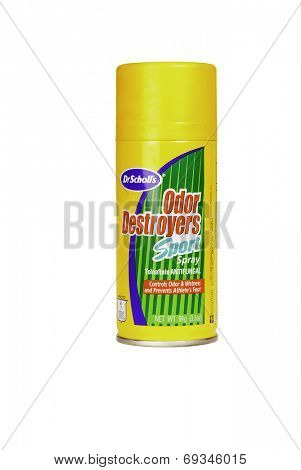 Hayward, CA - July 31, 2014: 3.5 oz spray can of Dr. Scholl's Odor Destroyers Sport anti-fungal foot spray