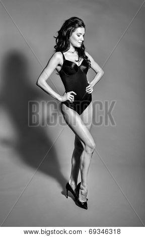 Bw Portrait Of Brunette Beautiful Girl